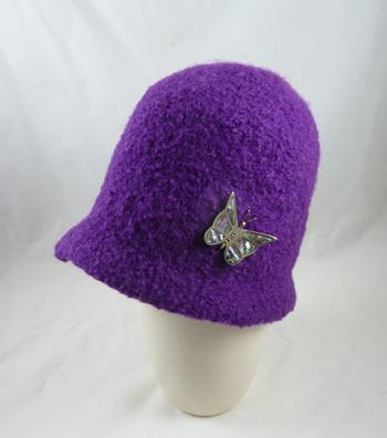 b2711b2b8b701d MB-510W Handknit Felted Wool Cloche Hat, Purple, Small - $110.00 ...