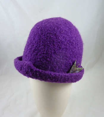 22f9262ea0fd09 MB-510W Handknit Felted Wool Cloche Hat, Purple, Small click to enlarge