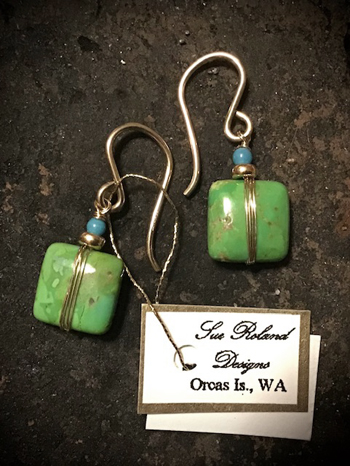 SR6-2 Square Green Turquoise Earrings - Click Image to Close