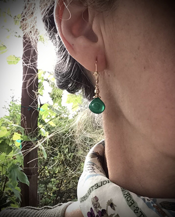 SR9-415 Green Onyx Earrings - Click Image to Close