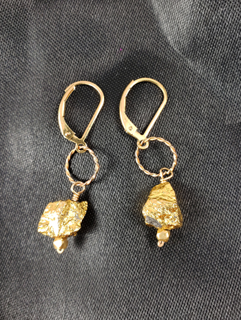 CA-26 Pyrite Nugget Earrings - Click Image to Close